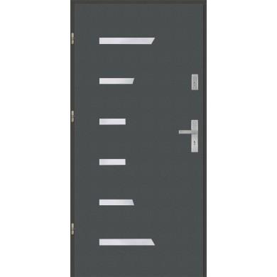 Drzwi wejściowe stalowe model EKO-NORM Płaskie AP7 inox