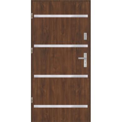Drzwi wejściowe stalowe model EKO-NORM Płaskie AP8 inox