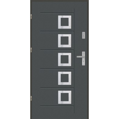 Drzwi wejściowe stalowe model EKO-NORM Gala T 41 inox pełne