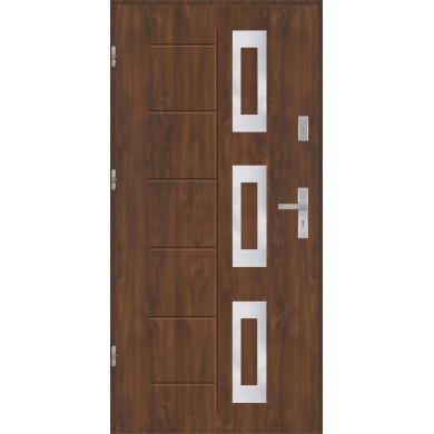 Drzwi wejściowe stalowe model EKO-NORM Gala 128 inox pełne