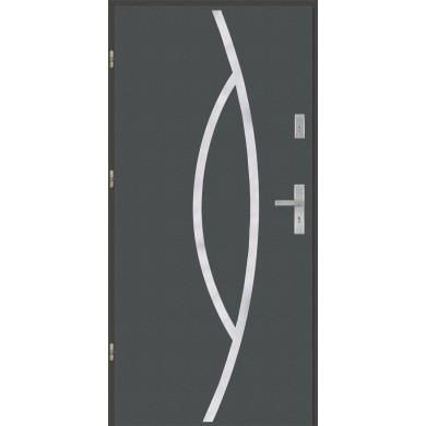 Drzwi wejściowe stalowe model PREMIUM płaskie 32 inox pełne