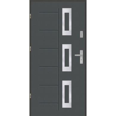 Drzwi wejściowe stalowe model PREMIUM Gala 128 inox pełne