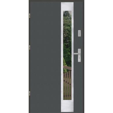 Drzwi wejściowe stalowe model EKO-NORM PŁASKIE 27 INOX