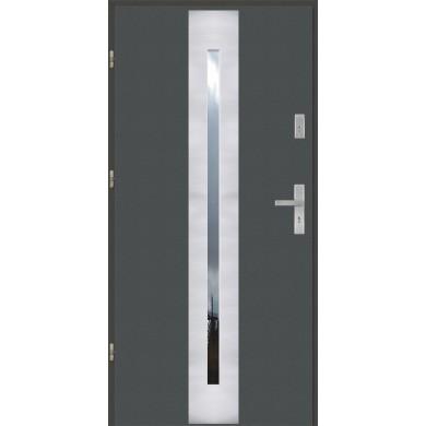 Drzwi wejściowe stalowe model EKO-NORM PŁASKIE 41 INOX