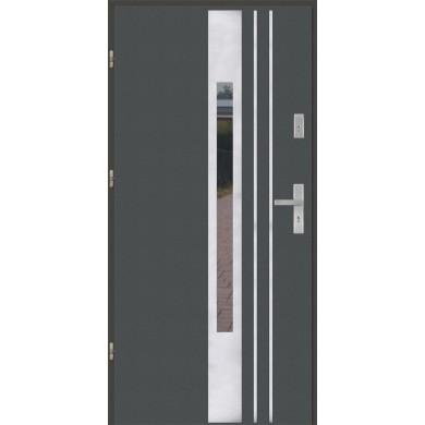 Drzwi wejściowe stalowe model PREMIUM PLUS PŁASKIE 44 INOX