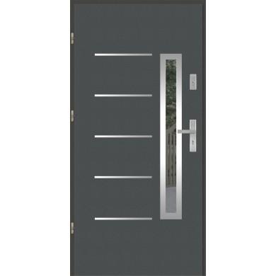 Drzwi wejściowe stalowe model PREMIUM PLUS PŁASKIE 71 INOX