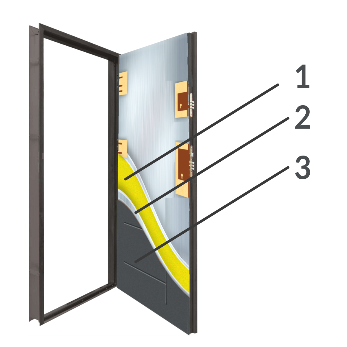 Przekrój Drzwi okleinowanych 55 mm