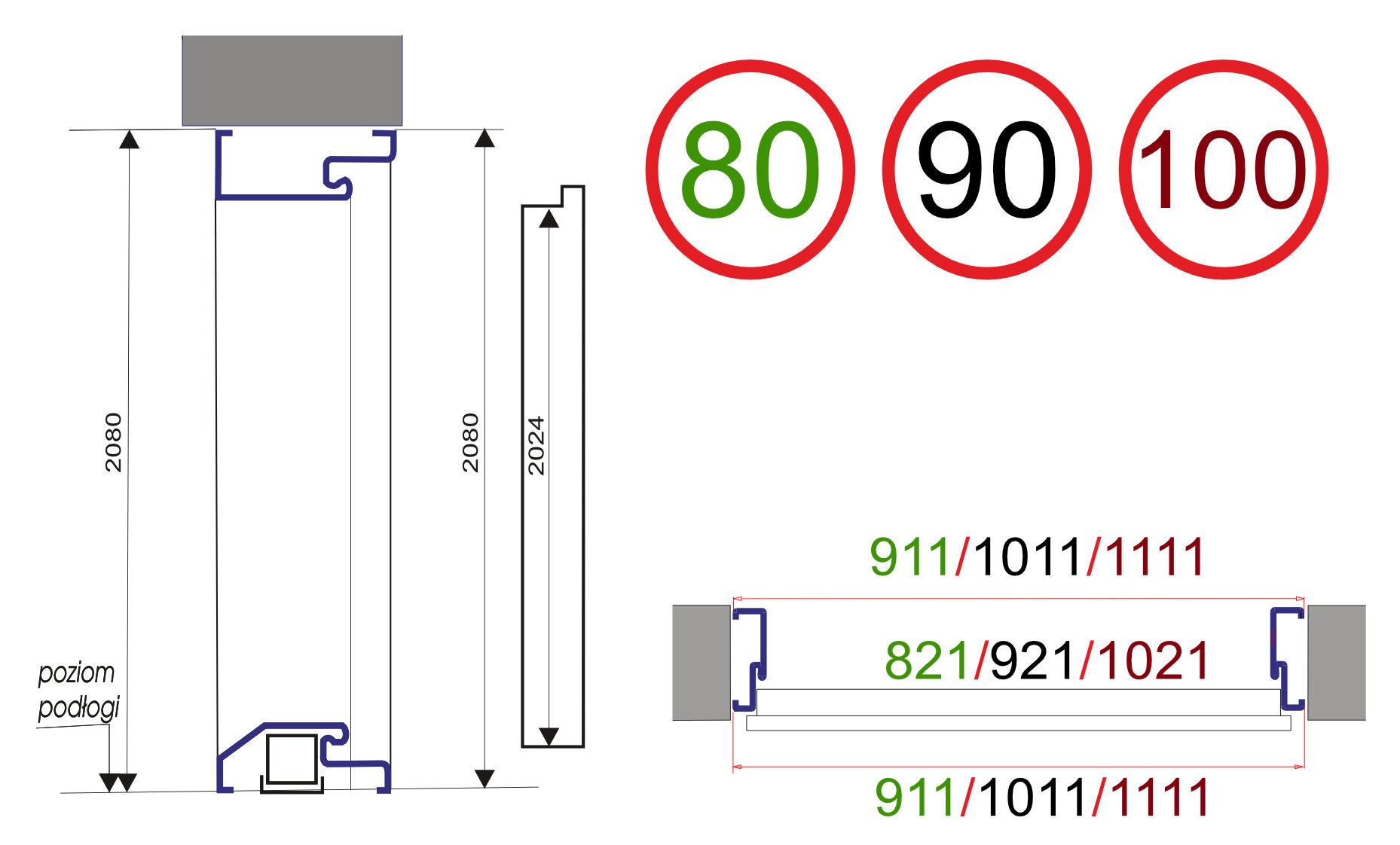 Wymiary Drzwi NORMA55